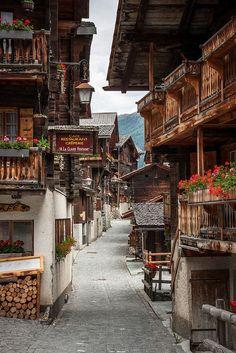 Grimentz Cidade Velha, em Val d'Anniviers, Suíça.