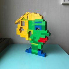 That is one skinny dude! Made by the missis. A Lego Duplo contemporary art sculpture portraying a very thin man! #portraits #portrait #dude #blonde