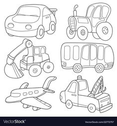 Cartoon transport coloring book vector image on VectorStock Preschool Coloring Pages, Coloring Book Pages, Baby Frame, Drawing Templates, Craft Kits For Kids, Christmas Cartoons, Infant Activities, Drawing For Kids, Digital Stamps