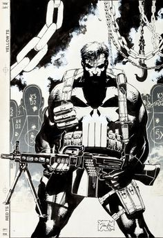 Original cover art by Jim Lee from The Punisher Armory published by Marvel Comics, June Comic Book Artists, Comic Book Characters, Comic Book Heroes, Comic Artist, Comic Character, Comic Books Art, Punisher Comics, Cyberpunk, Jim Lee Art