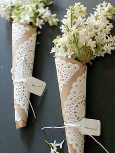 DIY Bouquet Holder, Craft Paper + Paper Lace Doily, Just Add Tag!!! Great for so many different events and Holidays!