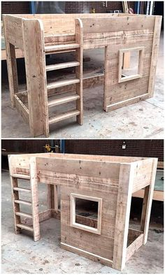 This pallets wooden kid's bed house is crafted for the sweet and comfortable sleep of your kids. This is another mind-blowing creation by recycling wood pallets. It looks classic in organic wood color but you can also paint and decorate this kids bed according to the theme of your kid's room.