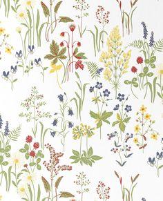 Tapetti Sandberg Flora m non-woven Stick On Wallpaper, Wall Wallpaper, Fabric Patterns, Print Patterns, Zoffany Fabrics, Botanical Wallpaper, Textiles, Velvet Curtains, Surface Pattern Design