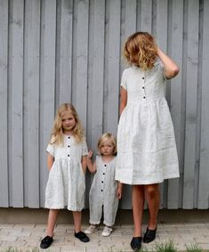 Matching Dress - Linen Dress - Matching Mommy and Me Striped Dresses - Matching Linen Outfit - Handmade by OFFON - Matching mother and daughter dresses and jumpsuit. (Please leave us a note - Baby Dress, The Dress, Family Picture Outfits, Jumpsuits For Girls, Moda Casual, Sienna Miller, Mothers Dresses, Dress Silhouette, Linen Dresses