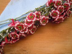 bufanda azul oya algodón rosa flor de turca por PashaBodrum en Etsy