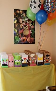 Toy Story - Those bags are so cute!Love the Mr. potato head one ....could do the girl and boy ones for a mixed party theme along with potato head prizes and games. Game could be 2 teams racing to replicate& assemble exactly as the one displayed for the teams. potato head cup cakes too.    FUTURE CHILD WILL HAVE THIS PARTY
