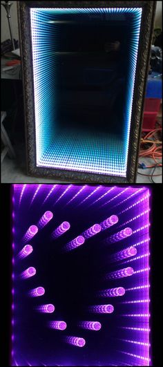 Learn how to make an infinity LED mirror Have you got a big mirror that you don't actually use? Why not make it a bedroom decor by turning it into an infinity LED mirror? Kids and the kids at heart who love science fi Mirror Man, Led Mirror, Mirror With Lights, Big Mirrors, Infinity Table, Infinity Lights, Diy Infinity Mirror, Home Decor Bedroom, Diy Room Decor