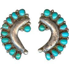 EARLY Handmade OLD Navajo Sterling Silver Turquoise Repousse Post Earrings
