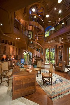 Collection of spiral staircase designs suitable for small homes. The design of a spiral staircase will not take up much space. Home Libraries, Cabin Homes, Large Homes, Foyers, My Dream Home, Future House, Interior And Exterior, Luxury Homes, Beautiful Homes