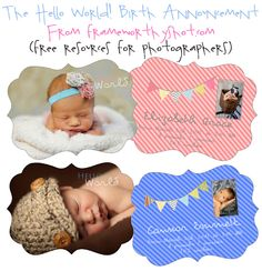 Free adorable birth announcement template from Frame Worthy Shot