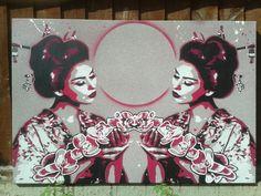 Geisha with lilies painting square canvas stencil art spray paints woman pop asian oriental flowers kimono beauty blues street art Japanese Spray Paint Canvas, Spray Paint Colors, Pink Street, Street Art, Stencil Art, Stencils, Lily Painting, Painting Canvas, Canvas Art