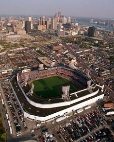 They play sports other than football at UM. Bill Freehan, Charlie Gerhinger (HOF) & Leon Roberts played for UM before they played for the Detroit Tigers MLB. Aerial view of the former Tiger Stadium with the downtown skyline in the distance, Detroit, MI Detroit Rock City, Detroit Sports, Detroit Tigers Baseball, Detroit Area, State Of Michigan, Detroit Michigan, Detroit Skyline, Tiger Stadium, Detroit History