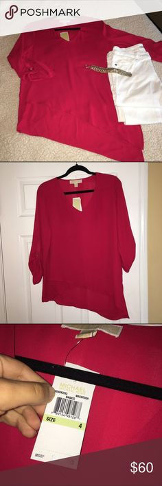 Michael Kors Red Blouse Red Michael Kors asymmetrical blouse! The blouse screams elegance! Would look so cute with a pair of white jeans and some cute tan peep toe wedges! 100% polyester with 3/4 sleeves and a cute gold embellishment on them. Never worn before!! MICHAEL Michael Kors Tops Blouses