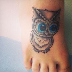 Owl tattoo on muh foot(: