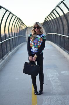 Little Miss Fearless: Asos graphic sweat + leather leggings