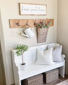 Here's some inspiration for your next entryway refresh! Tap the photo to recreate goldengracehandmade's design with a pew bench, wall hooks, and a basket of blooms! Pew Bench, Bench Decor, Wall Decor, Entryway Wall, Entryway Ideas, Home Decor Baskets, Bench With Storage, Storage Benches, Upcycled Home Decor