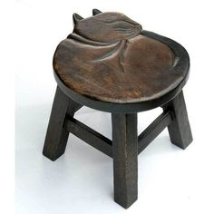 Hand-Carved Cat Stool: