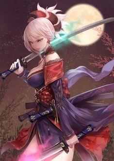 Miyamoto Musashi -fate grand order art,so pretty. Manga Girl, Anime Art Girl, Manga Anime, Anime Girls, Fantasy Anime, Fantasy Girl, Fantasy Character Design, Character Art, Character Portraits