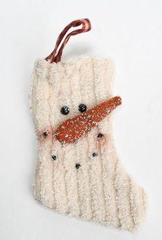 Chenille Primitive Snowman Stocking Ornament