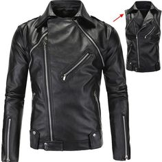 Men's Leather Jackets Casual Casual Removable
