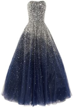 Marchesa Sequined Strapless Silk Tulle Gown in Blue. Ggaaaahh love it!!
