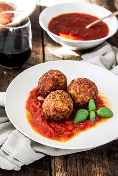 Arancini Di Riso with Balsamic Vinegar and Caramelized Onions Marinara Sauce | www.oliviascuisine.com | These risotto balls stuffed with cheese are an easy and delicious Italian antipasto! The recipe includes a basic parmesan risotto recipe, but you can absolutely use leftover risotto.
