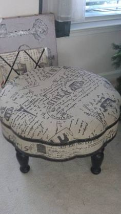 French Script Ottoman by leela17 on Etsy, $220.00