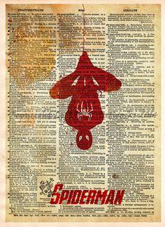 Spider Man wall art, Superhero print, minimalist splatter art, Dictionary print art