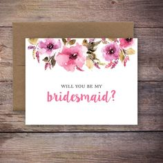 Printable Will You Be My Bridesmaid Card - Instant Download Greeting Card - Will…