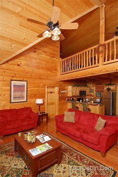 """Cedar Rose Cabin is a gorgeous cabin conveniently located in Pigeon Forge. The main level includes a fully equipped kitchen with bar, dining area with seating for eight, living room, and two bedrooms with bathrooms. The living area features cathedral ceilings, large picture windows, plush microfiber sofa with love seat, gas fireplace, 55"""" HD big screen TV with Comcast cable, and High Speed Internet connection. #luxury #vacation #cabins"""