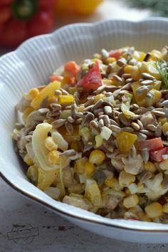 Sałatka z kurczakiem, papryką i kukurydzą – Smaki na talerzu Salad Recipes, Cake Recipes, Aga, Cereal, Grains, Salads, Good Food, Food And Drink, Menu