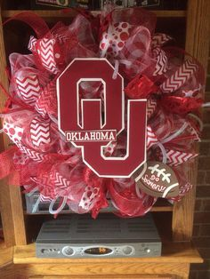 Oklahoma sooners deco mesh wreath by ShelbyColemanCrafts on Etsy, $68.00