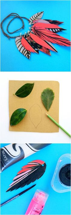 DIY Cardboard Nature Leaf Necklace. Collect leaves and use them as inspiration to make these pretty painted leaf necklaces out of cardboard with the kids.