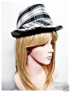 Womens-Plaid-Fedora-Hat-Cap-Black-White-Brim-Ladies-Warm