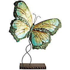 "Turquoise Metal Butterfly 20""W x 9""D x 23""H Galvanized iron & capiz shell. Pier One $39.95"