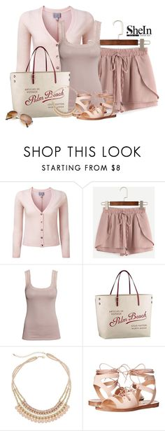 """short de Shein rose"" by marie-iiii ❤ liked on Polyvore featuring Pure Collection, H&M, Louis Vuitton, Decree and Steve Madden"