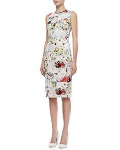 B2G84 Erdem Maura Fitted Floral Patchwork Dress