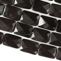 """Obsidian, 10x14 Faceted Rectangles, 8"""" Strand, 7OB62-0001"""