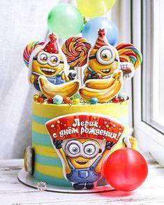 Ребенок День Рождения, Техники Украшения Торта, Красивые Торты, Дизайн Тортов, Миньоны, Фигурки На Торт, Печенье, Пироги