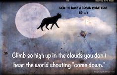 "Good Night | Dream Sweetly | Dream come true | Animals | Cats | Hope | Great week ahead | Good day tomorrow: How to Make a Dream Come True Tip #1: Climb so high up in the clouds you don't hear the world shouting ""come down."" Here's to a week filled with much joy, hope and happiness."