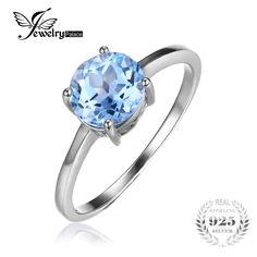 Jewelrypalace vòng 1.6ct tự nhiên sky blue topaz birthstone solitaire nhẫn chính hãng 925 sterling silver bạc trang sức cho phụ nữ