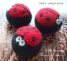 Handmade Felt Bug Ladybird Beads x1 Needle Felted Ladybug