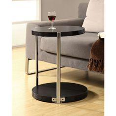 @Overstock - Add a stylish touch to your living space with this accent table. Sleek, supportive legs and glossy cappuccino and chrome finish complete this contemporary table.   http://www.overstock.com/Home-Garden/Cappuccino-Chrome-Metal-and-Glass-Round-Accent-Table-24-x-18/6811414/product.html?CID=214117 $92.99