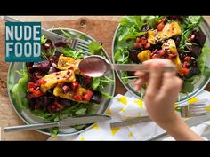 Roast Beetroot and Spiced Haloumi Salad with Tamarillo Dressing - my favourite Winter salad Haloumi Salad, Winter Salad, Beetroot, Vegetable Dishes, Salad Recipes, Vegetarian Recipes, Salads, Roast, Spices