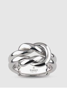 1e1f17132fdb3 Gucci Wide Knot Ring in Silver Unusual Jewelry