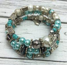 Blue & Silver Memory Wire Bracelet Wrap by TheaDesignConcepts