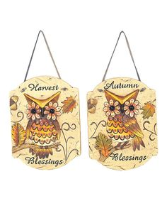 Take a look at this Harvest Owl Wall Decoration Set on zulily today!