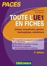 Toute l'UE1 en fiches : atomes, biomolécules, génome, bioénergétique, métabolisme / Simon Beaumont, Elise Marche, 2e édition, Paris : Ediscience, 2015 BU LILLE 1, 572 BEA http://catalogue.univ-lille1.fr/F/?func=find-b&find_code=SYS&adjacent=N&local_base=LIL01&request=000626651