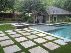 AWARD WINNING House synthetic turf backyard oasis traditional pool