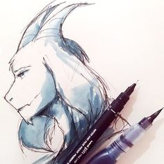 """""""I had an experiment today. Instead of putting water in my waterbrush, I put fountain pen ink ;DD Doodled Asriel because yes, he's still on my husband list."""" justjezz.paigeeworld.com #watercolor #undertale #asriel #fanart ~Moonie"""